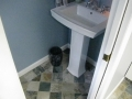 Blue Bathroom With Tile Floor